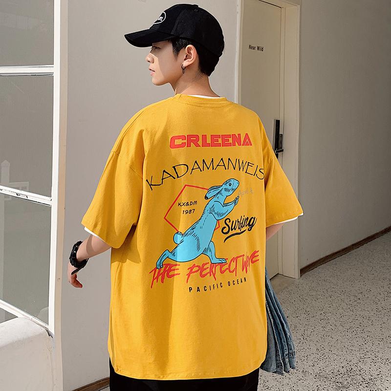 超火cec短袖男潮流卡通动漫印花五分袖上衣学生宽松百搭半袖t恤衫