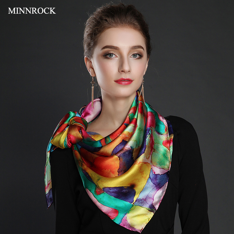 Top grade silk square scarf womens middle-aged and elderly mothers Scarf 100% silkworm silk scarf autumn and winter birthday gift