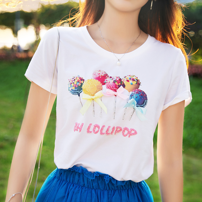 ATAR夏装糖果蝴蝶结少女T恤衫2018新款童趣青春体恤衫短袖女上衣