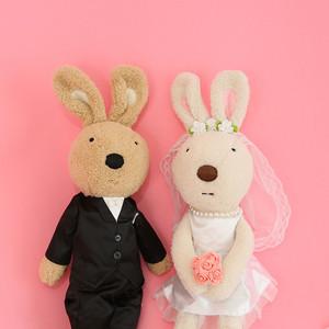 可爱穿衣砂糖兔公仔毛绒小兔子婚纱兔情侣娃娃玩偶送新人结婚礼物