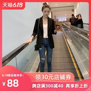 网红小西装外套女2020春秋新款韩版夏季chic休闲黑色薄款西服上衣