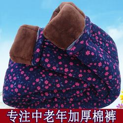 中老年保暖裤女加绒加厚高腰妈妈宽松冬天保暖东北外穿驼绒花棉裤