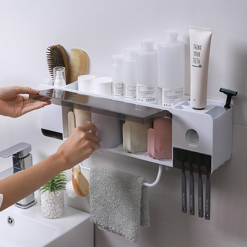 Toothbrush rack, toothpaste gargle cup set, simple