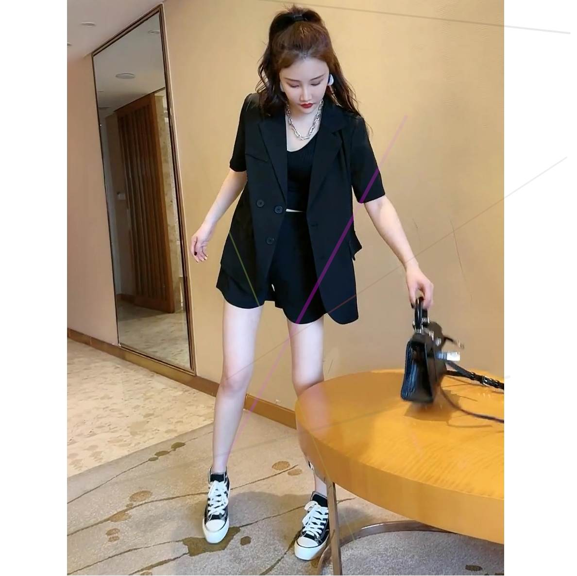 Summer new womens suit 2021 often simple suit Lapel short sleeve thin middle coat solid color wide cwov