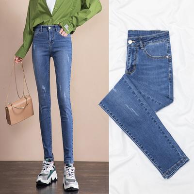 牛仔裤女2021年新款春秋高腰显瘦加绒紧身铅笔小脚裤秋季女士裤子