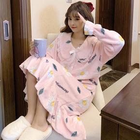 睡衣女春秋冬公主风加厚珊瑚绒睡裙中长款甜美可外穿法兰绒连衣裙