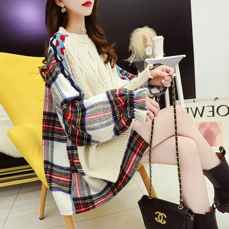 香港潮牌宽松日系毛衣女套头拼接衬衫慵懒风上衣秋装2020新款外穿