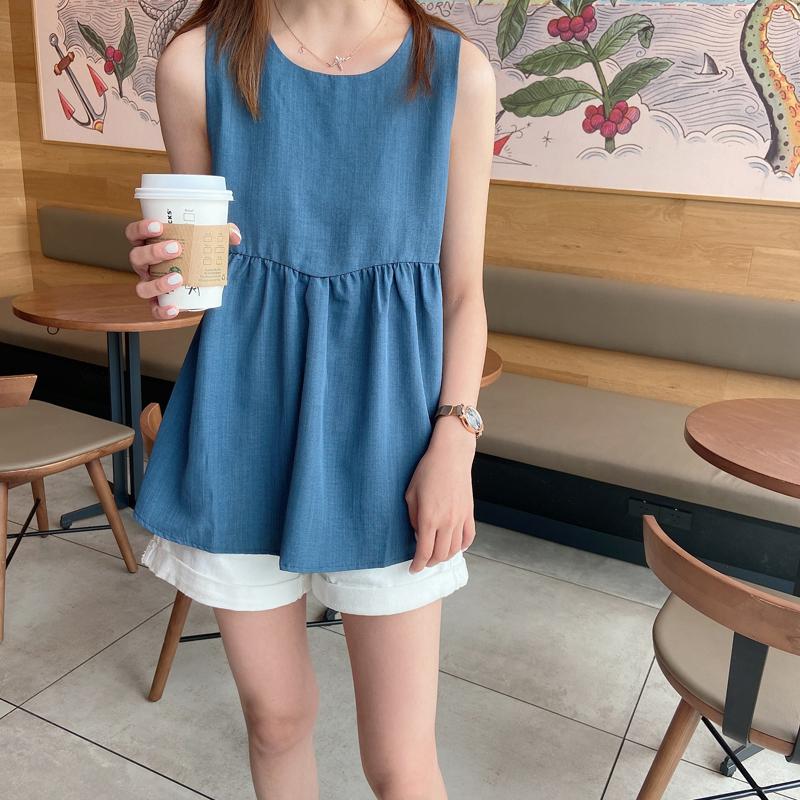 韩版蓬蓬a字娃娃衫裙摆无袖上衣女夏新款遮肚子洋气雪纺背心小衫