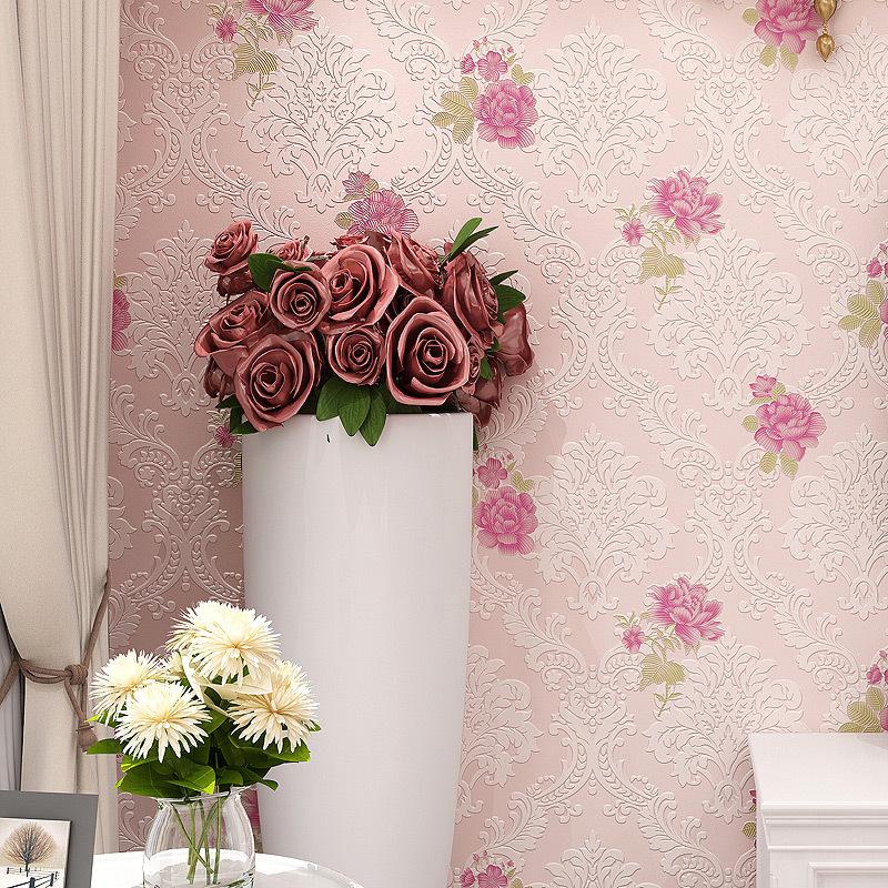 欧式简约现代3d小碎花无纺布墙纸卧室客厅婚房电视背景墙壁纸家装