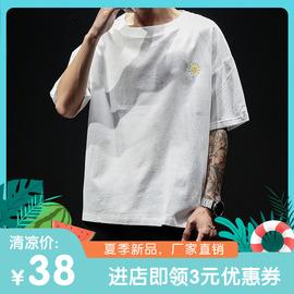夏季短袖T恤男棉麻透气胖子潮宽松加肥加大码半袖上衣亚麻打底衫图片