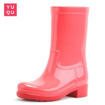 Rain Shoes women fashion cute medium tube &; Boots waterproof anti-water skiing shoes rubber shoes casual shoes adult Outdoor boots