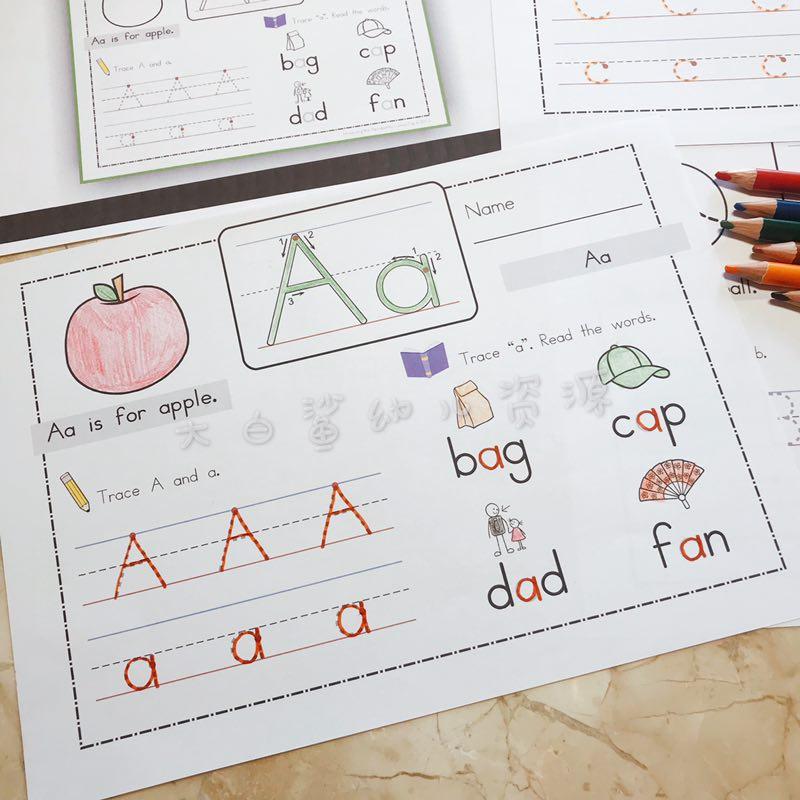 大白鲨幼儿资源美国字母练习书写26个字母A-Z作业4岁+