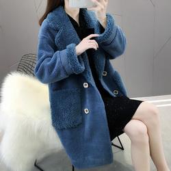 颗粒羊剪绒开衫外套女2020年新款中长款羊羔毛皮毛一体大衣女秋冬