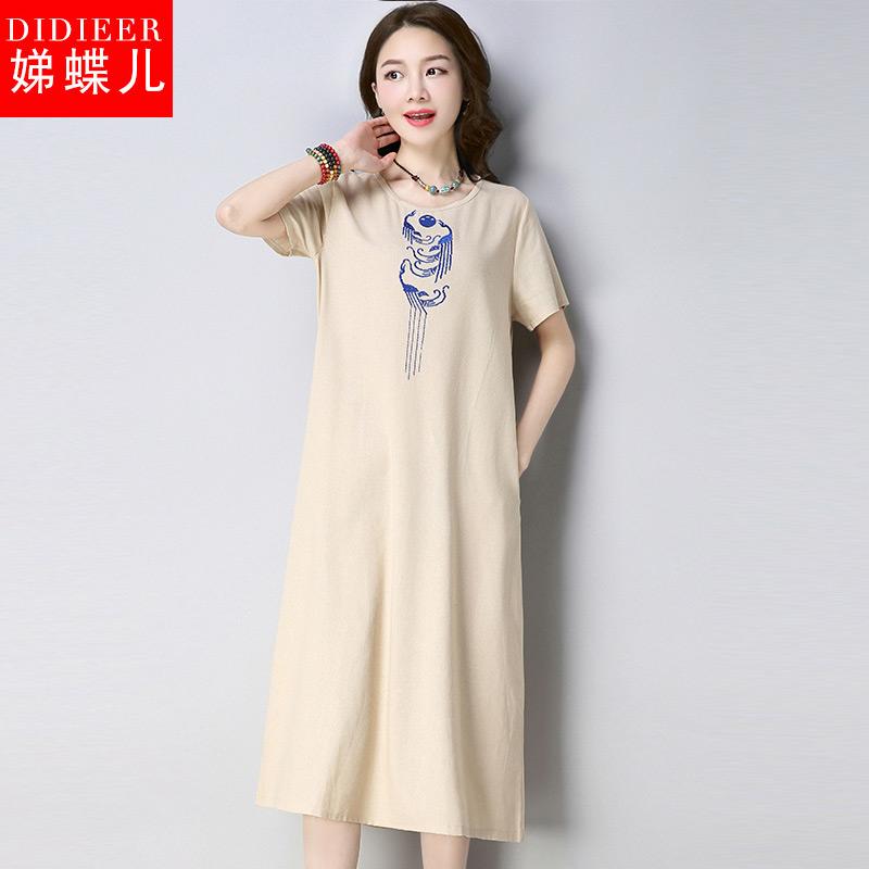 娣蝶儿2018夏季新款女文艺复古棉麻宽松刺绣短袖圆领中长裙