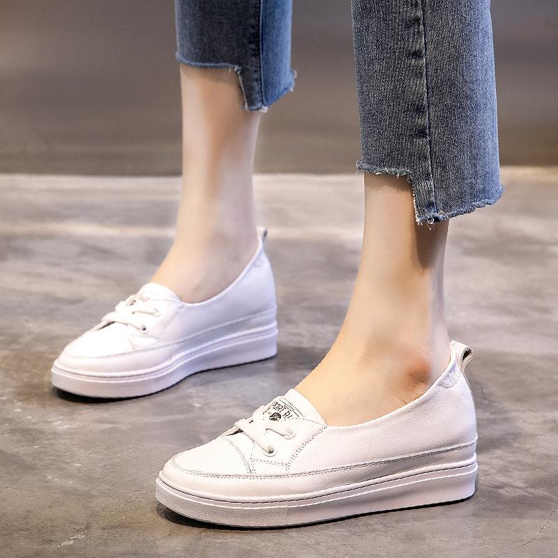 内增高小白鞋女鞋2021新款春季百搭春秋厚底真皮夏季浅口豆豆单鞋