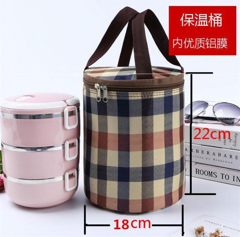 Lunch Bag Lunch Box Bag thickened aluminum foil heat preservation round hand carry rice lovely woman lunch canvas work hand carry