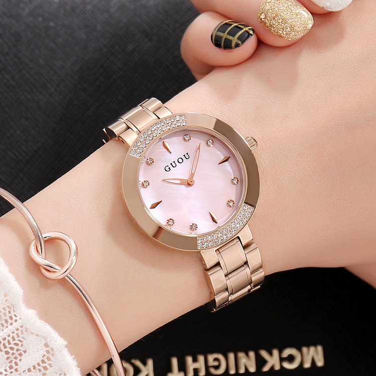 Guou Guou watch quartz watch fashion personality leisure watch womens shell Dial Stainless steel metal watch chain