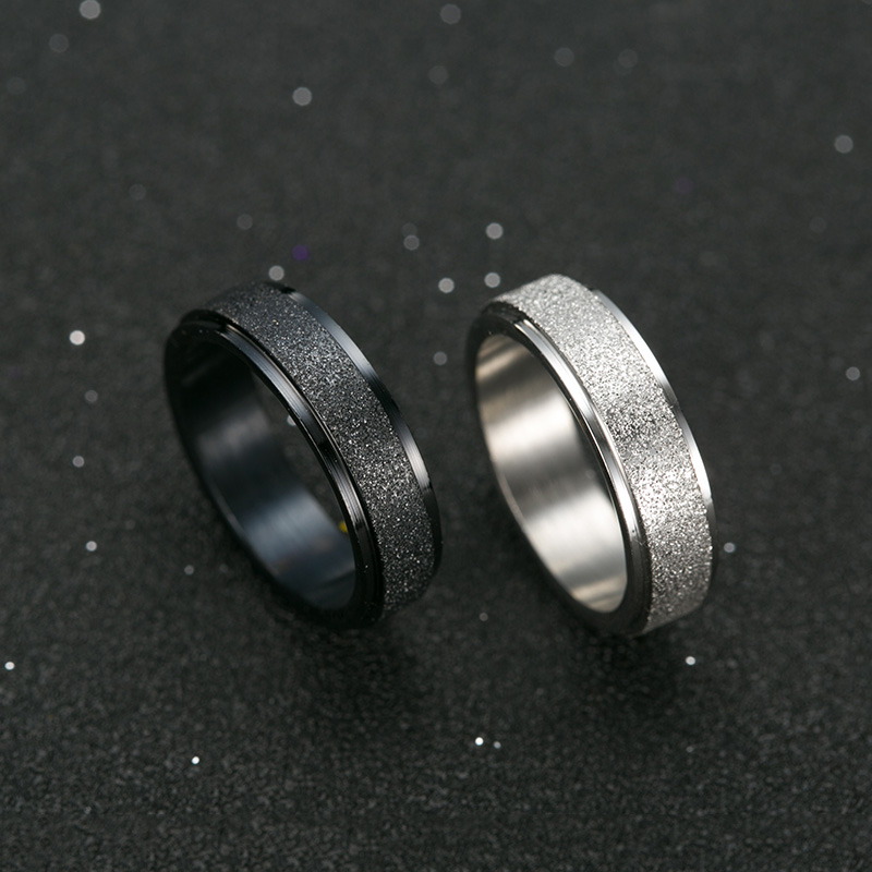 Black frosted mens brother ring male personality lovers custom girls food ring single tail ring can be engraved