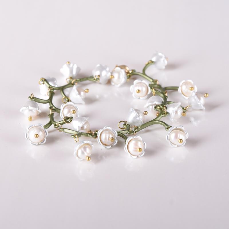 青岛饰品复古植物珍珠手链复古烤漆花卉文艺手链颜色久可以做脚链