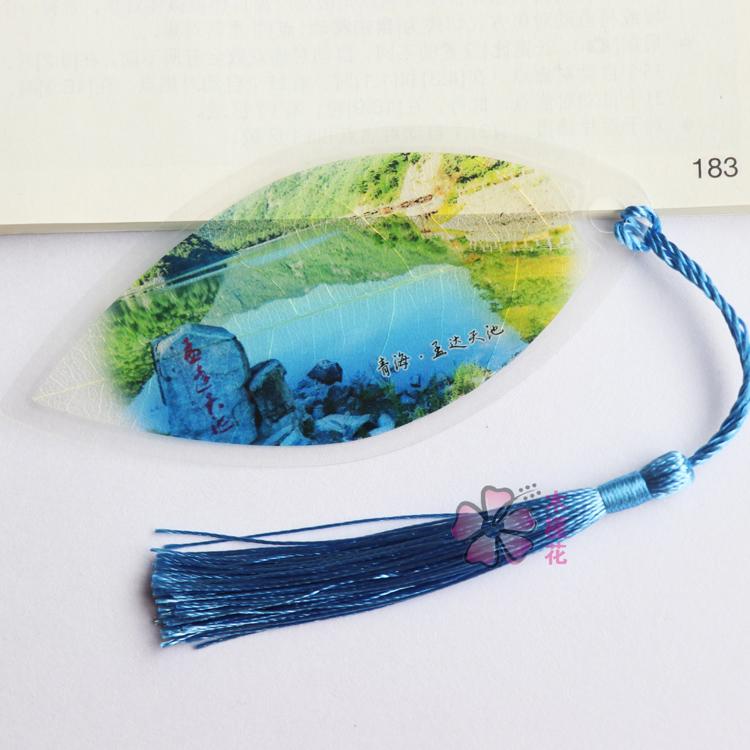 唯美孟达天池风光叶脉书签青海旅游特色手工艺品中国风来图定制