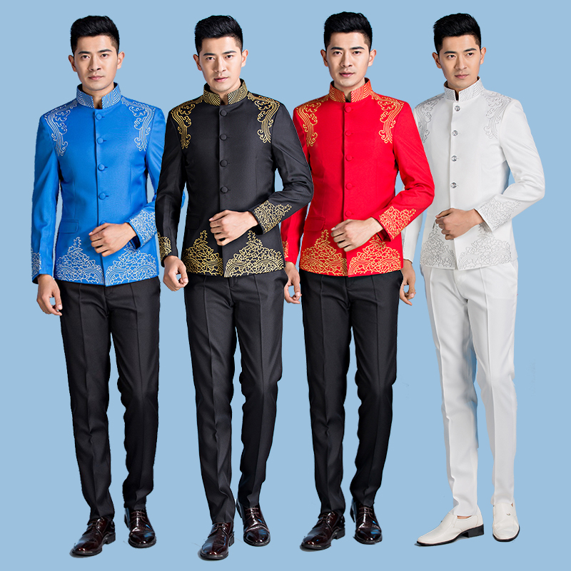 Chinese tunic performance dress male singer standing collar Tang costume host master of ceremonies stage suit male Chinese Chorus dress