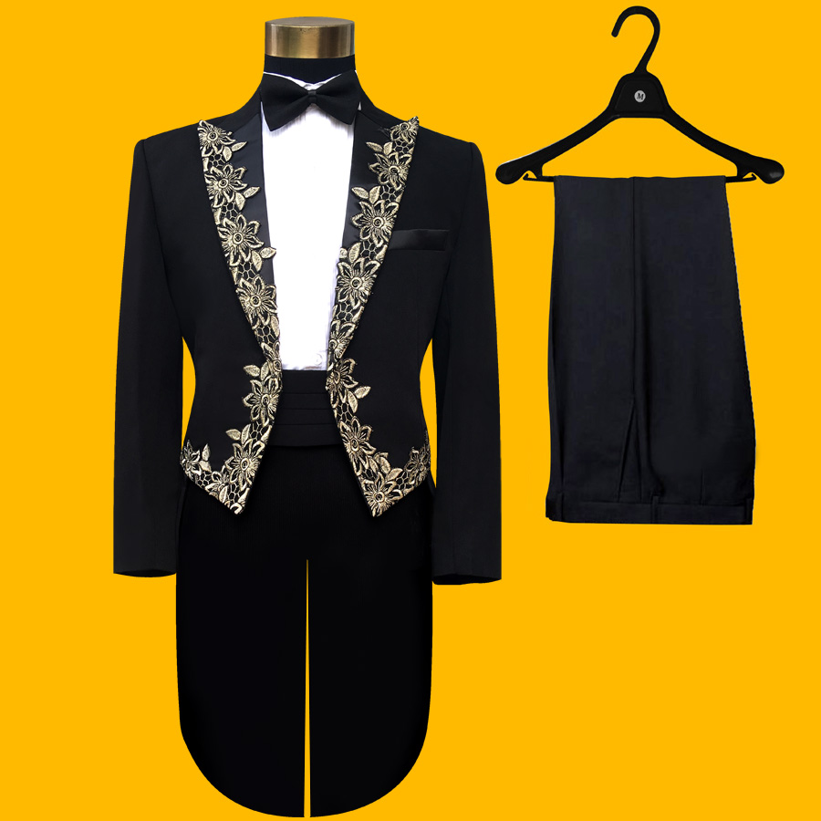 Mens lace tuxedo stage costume host dress folk music performance chorus performance mens suit