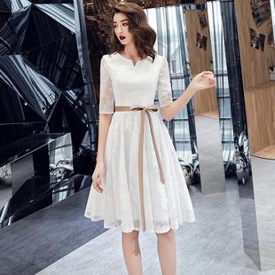 白色晚禮服女簡單大方伴娘服仙氣質日常平時可穿生日派對連衣裙夏