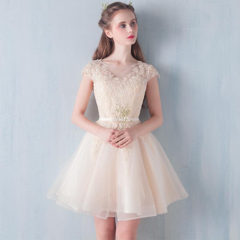 小礼服2018新款秋季韩版一字肩香槟伴娘服短款宴会晚礼服连衣裙