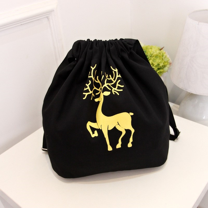 Cute backpack bags with shoulder straps, fashionable drawstring canvas bags, mini mens and womens personalized trend, carrying bags, Korean version