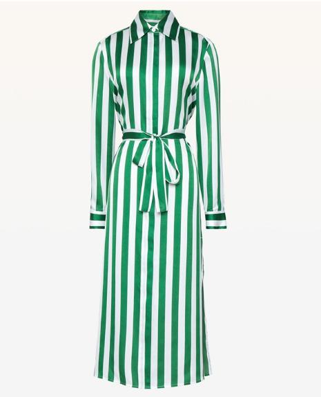 折 美国正品代购 Juicy Couture 18夏 蚕丝条纹衬衣式连衣裙 2色