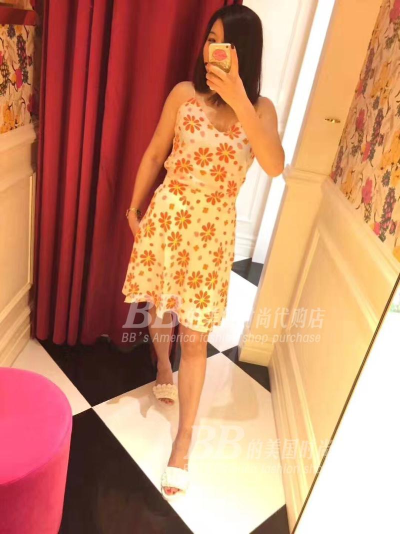 折 美国正品代购 Juicy Couture 18夏 蚕丝 印花 吊带 连衣裙