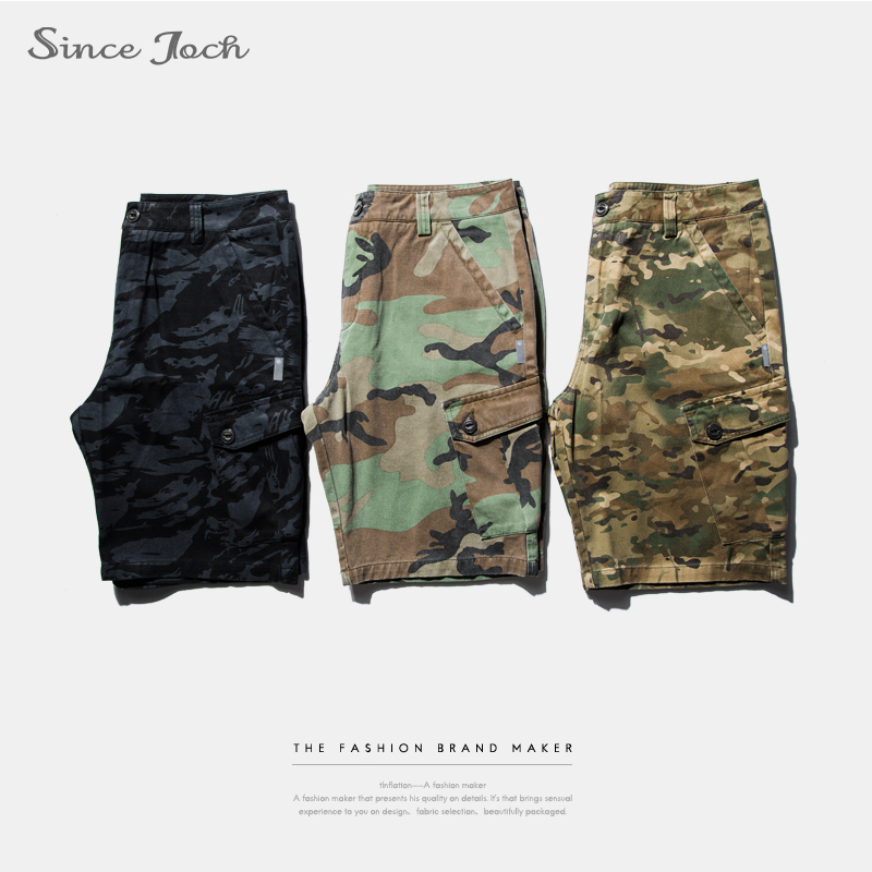 Summer 2017 new style overalls popular camouflage shorts multi bag mens casual pants fashion five pants
