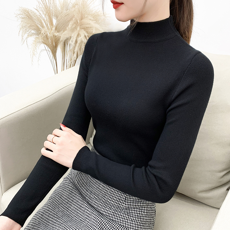 Half high collar sweater bottoming shirt womens autumn winter 2020 new foreign style versatile slim tight Long Sleeve Sweater Top