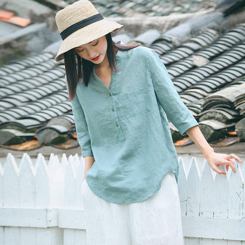 可然麦芽/砂洗纯苎麻 衬衫宽松棉麻衬衣女装夏季2020新款百搭上衣