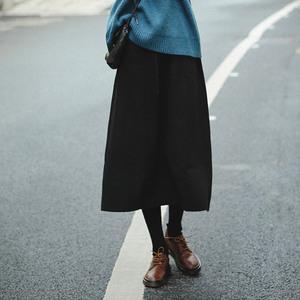 可然 朝与暮_百褶中长裙a字小黑裙 高腰针织半身裙秋冬季文艺女装