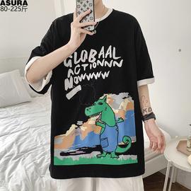卡通怪物短袖T恤男加肥加大码宽松体潮牌潮流胖子夏天装嘻哈上衣图片