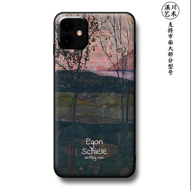 适用苹果11proMax/XS/XR/8/7iphone6splus手机壳席勒日出艺术油画图片