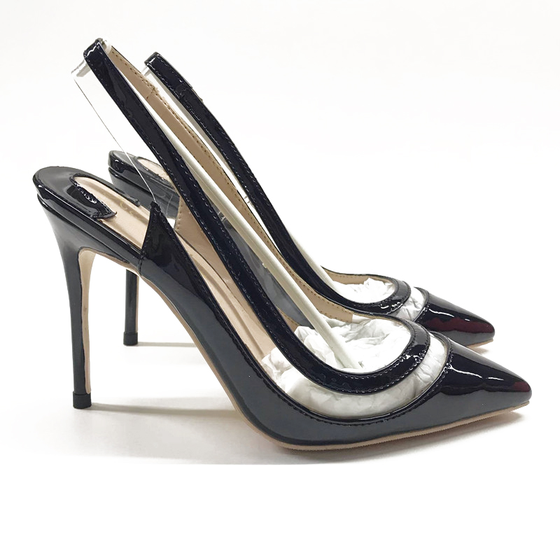 2020 new black patent leather stitching pointed high heel shoes 10cm thin heel and straight belt sandals fashion womens shoes