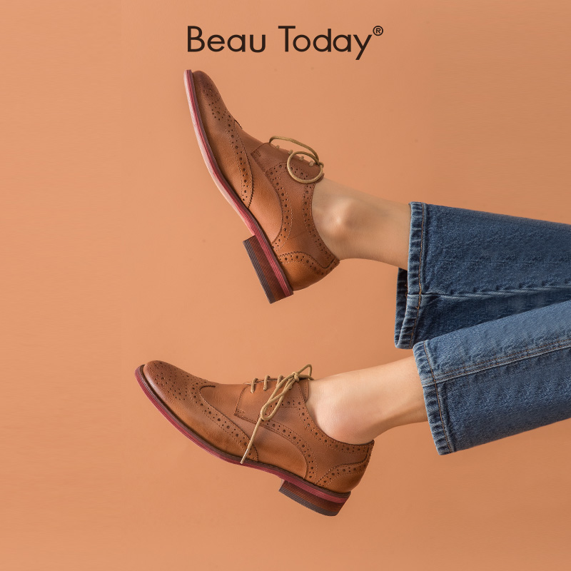 Beautoday block womens shoes Oxford Shoes British style single shoes leather flat soled Retro Leather shoes college style