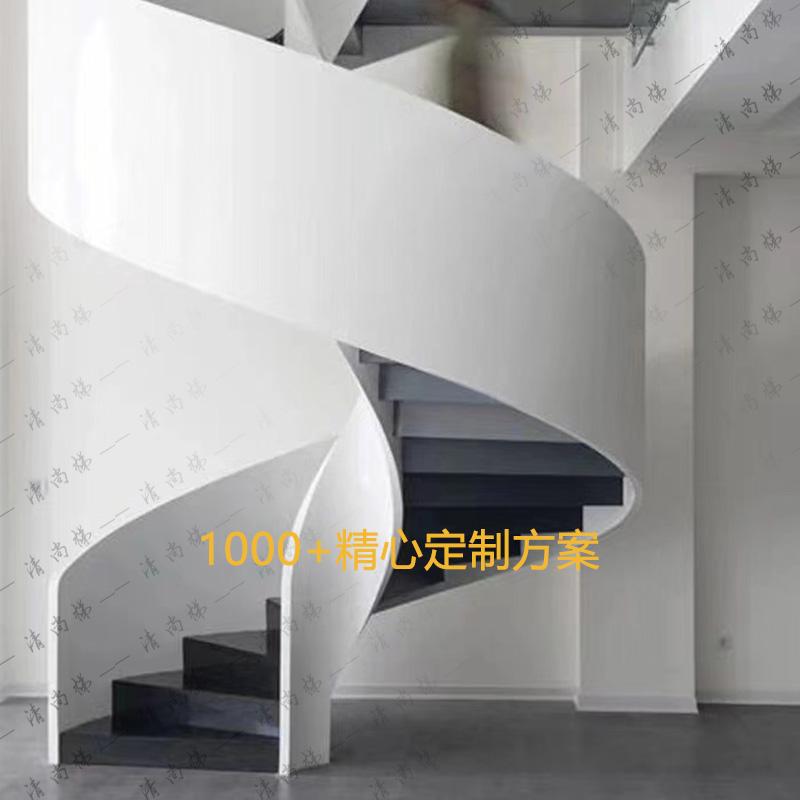 北京钢板楼梯室内旋转网红玻璃实木扶手别墅护栏现代弧形钢制直梯
