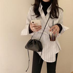条纹女装叠穿假两件套设计感衬衫