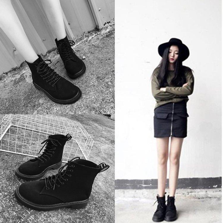 马丁靴女2018春夏新款韩版百搭学生系带休闲短靴低跟平底高帮皮靴