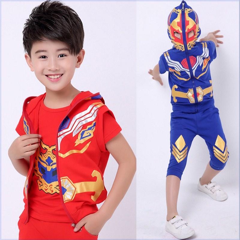 限2000张券童装男童铠甲勇士夏装套装儿童捕将卡魄夏款短袖三件套超人衣服。