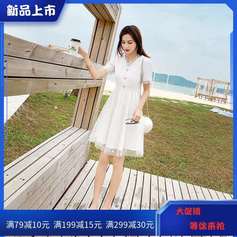 轻熟风白色很仙的泫雅风女仙连衣裙限9000张券