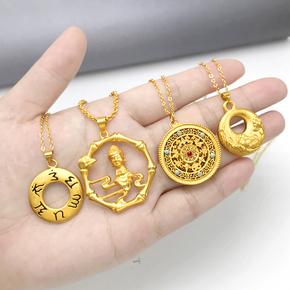 越南沙金项链吊坠女士六字真言佛祖镀黄金项坠男女平安扣久不掉色