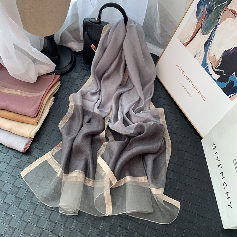 ? Spring and autumn thin silk silk scarves with all kinds of pure color silk cotton scarf shawls show good temperament