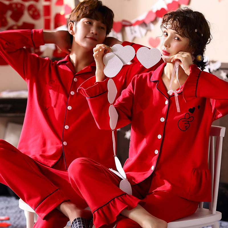红色月子服纯棉长袖春秋结婚睡衣