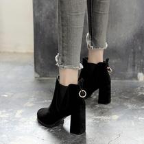 短靴女粗跟2020新款高跟靴子英伦马丁靴秋东款鞋子女鞋韩版百搭