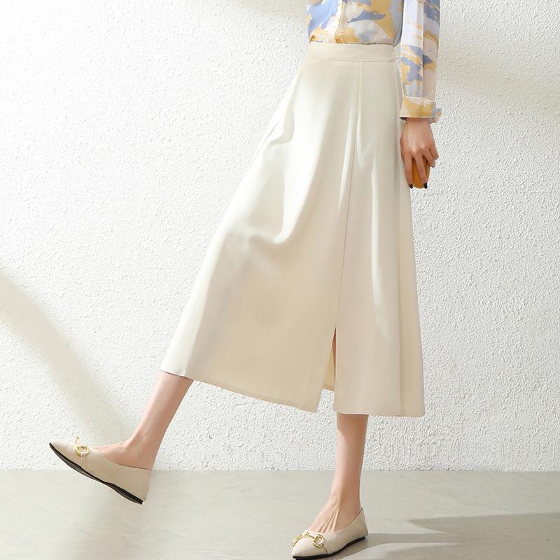 白色半身裙女夏垂感裙子雪纺长裙百褶裙中长款a字裙开叉高腰伞裙