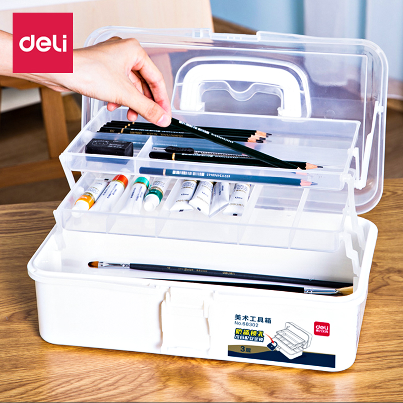 Deli art toolbox, nail salon special multi-function picture box, stationery storage tool box, primary school students